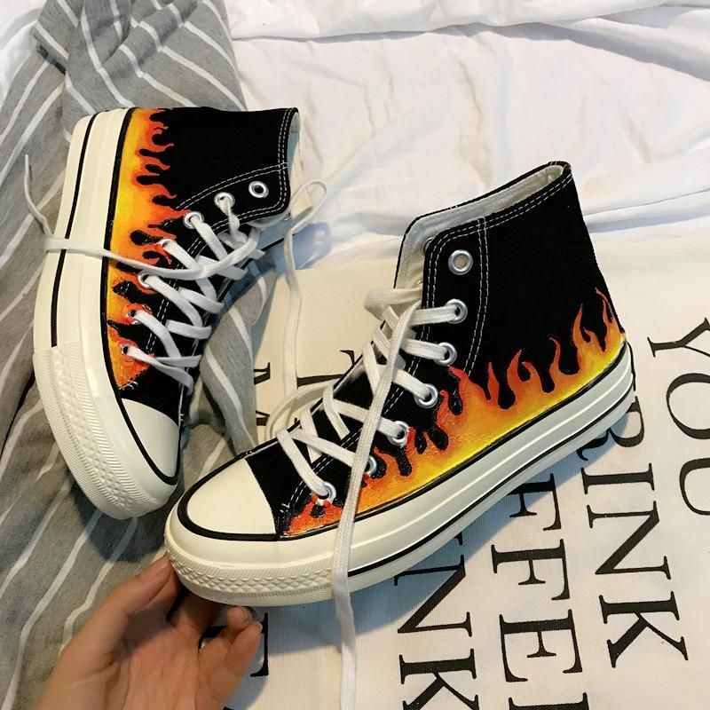 Photo of SKATE HIGH CLASSIC SNEAKERS PRINT FIRE THICK SOLE