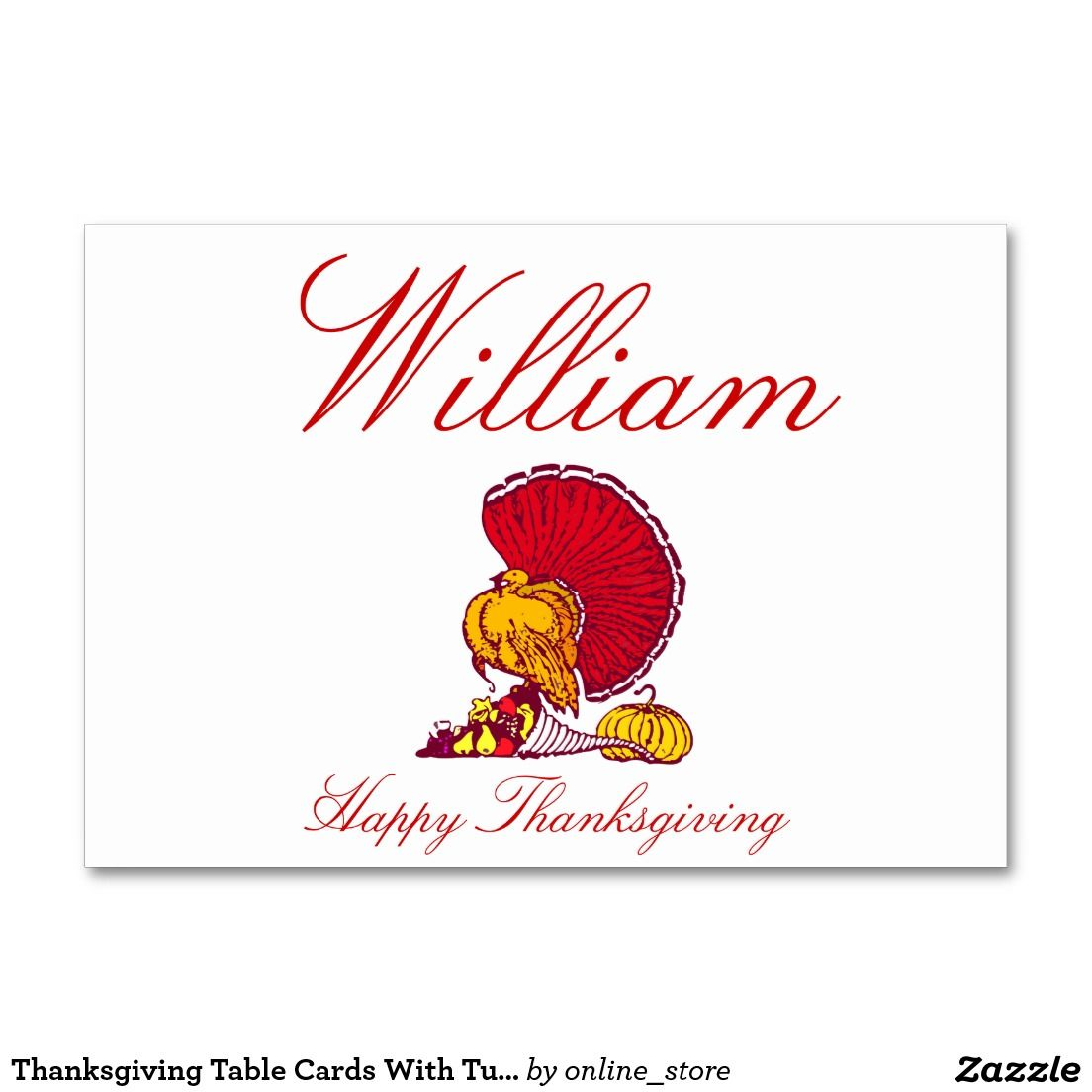 Thanksgiving Table Cards With Turkey
