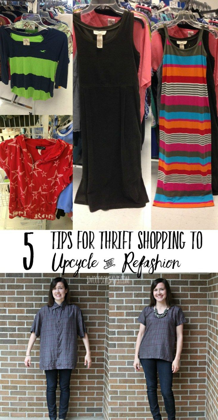 Five Tips For Thrift Shopping To Upcycle Refashion Sewing