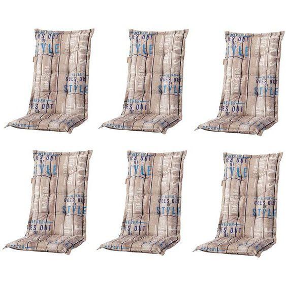6 x Madison Hochlehner: C306 Taupe-gestreift mit Schriftz�gen