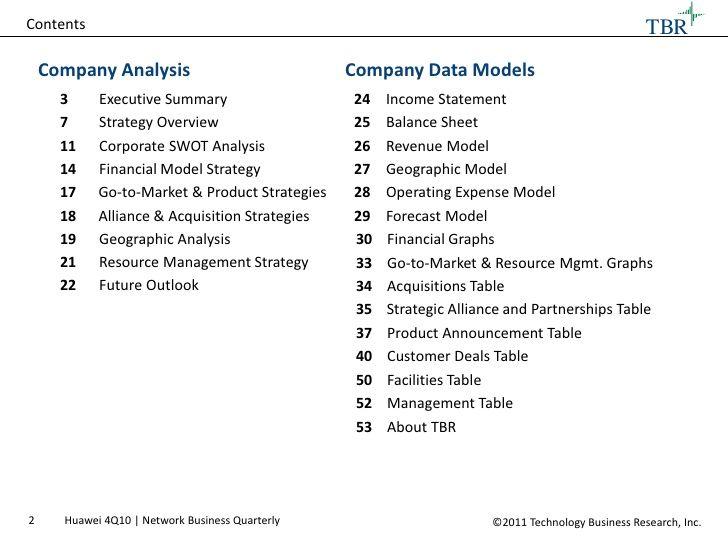 Contents TBR Company Analysis Telecom Pinterest - company analysis