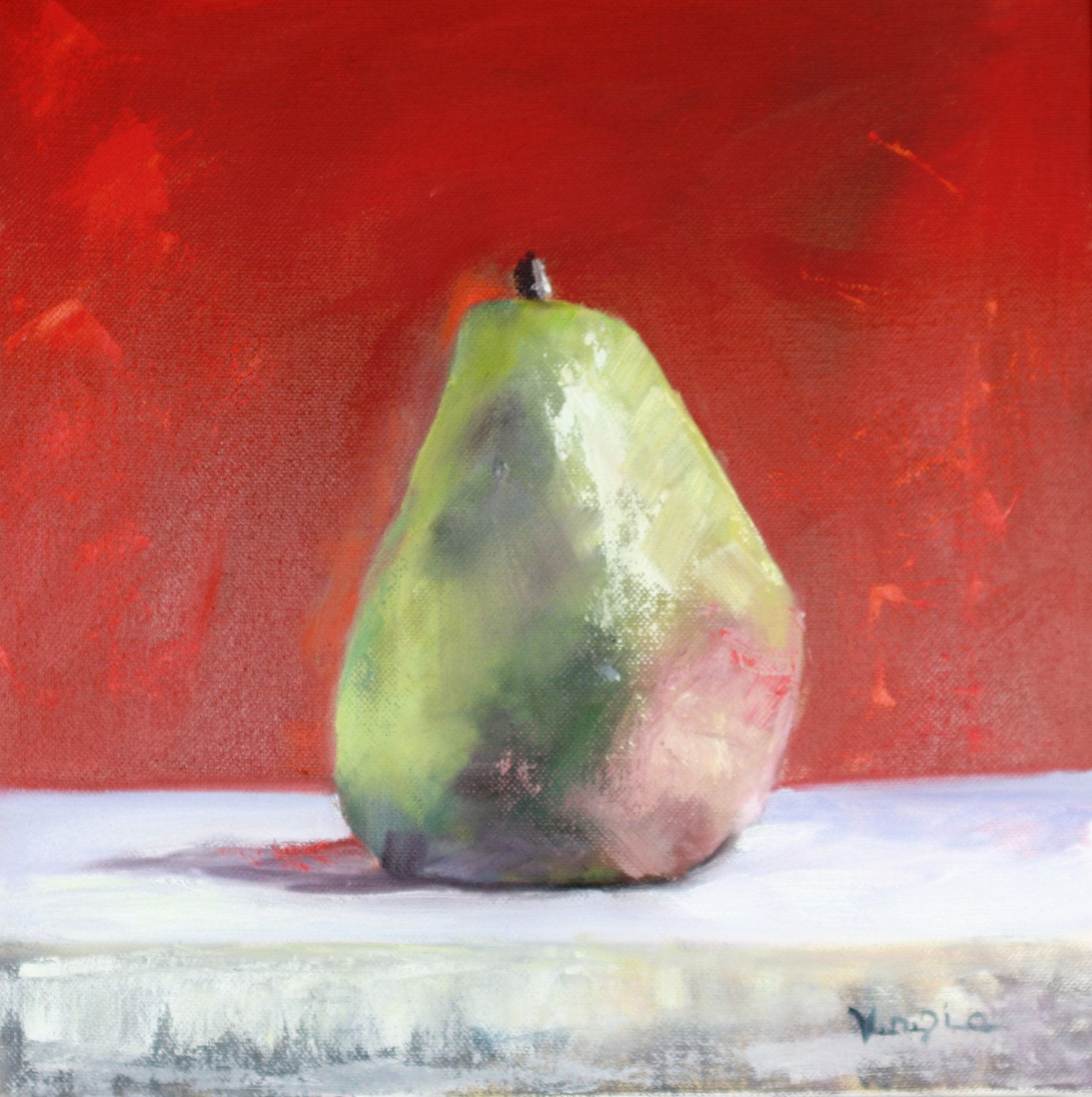 original oil painting canvas art green and red pear by veneziaart ...