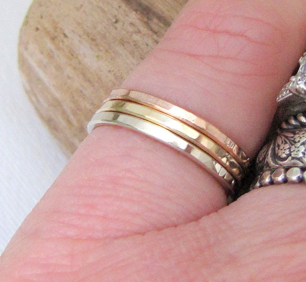 Stacking Gold Rings White Gold Yellow Gold Rose Gold Hammered ...