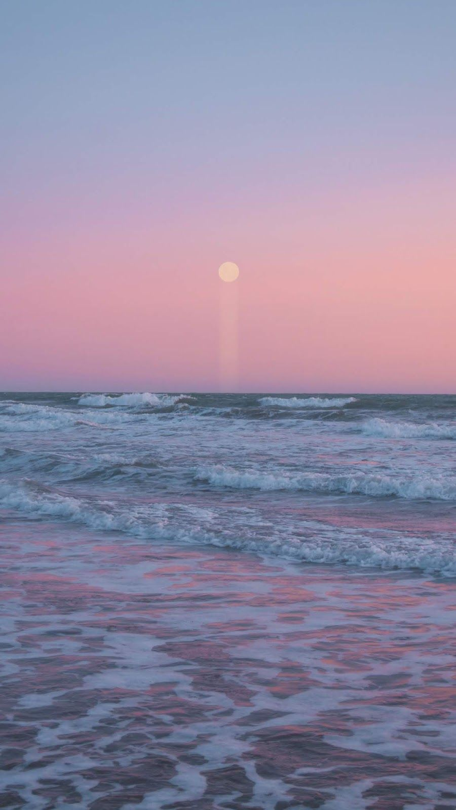 Moon In The Pink Sky On The Beach In 2020 Iphone Background