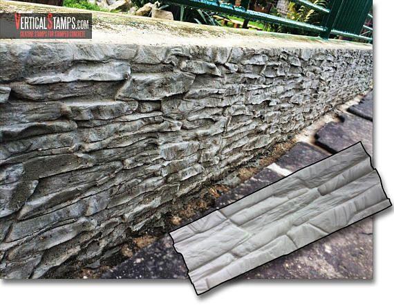 Decorative Ledgestone Silicone Stamps Vertical Stamped Concrete Original Slate Design Vertictal Stamps Pattern Mold Stone Rock Diy Concrete Decor Decorative Concrete Walls Stamped Concrete