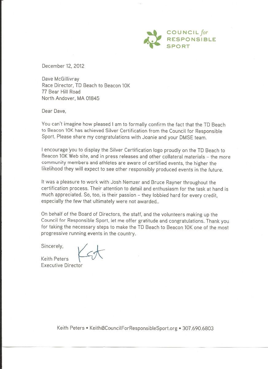 Leed Certification Letter Beacon Silver Beach Road Race For Homes