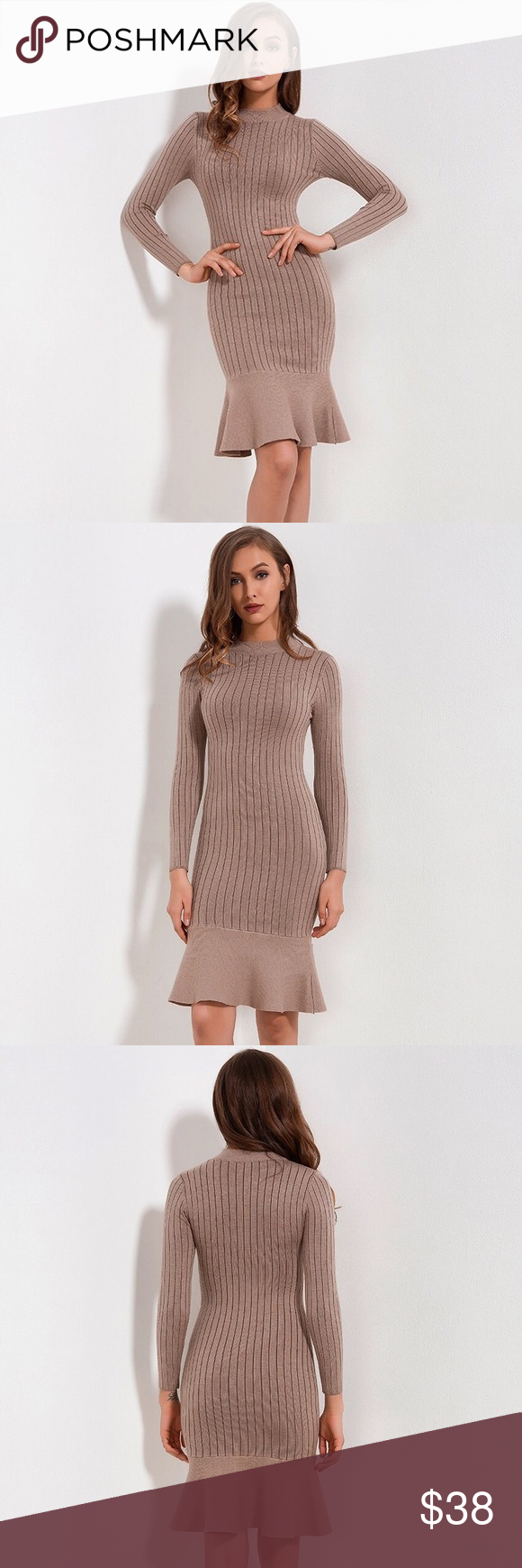 f494b96bfdd Nude ribbed knit long sleeve dress Very soft and comfy