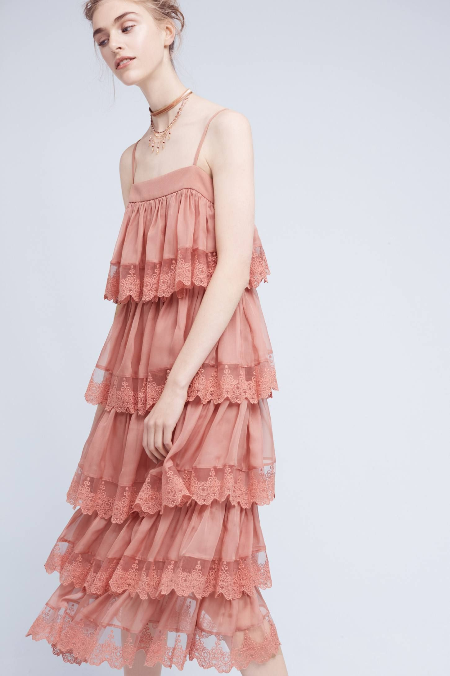 e511c42ce0ac Shop the Tiered Blush Midi Dress and more Anthropologie at Anthropologie  today. Read customer reviews