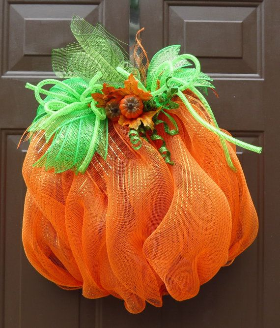 Pumpkin Deco Mesh Wreath Halloween Wreath by FestivalofWreaths