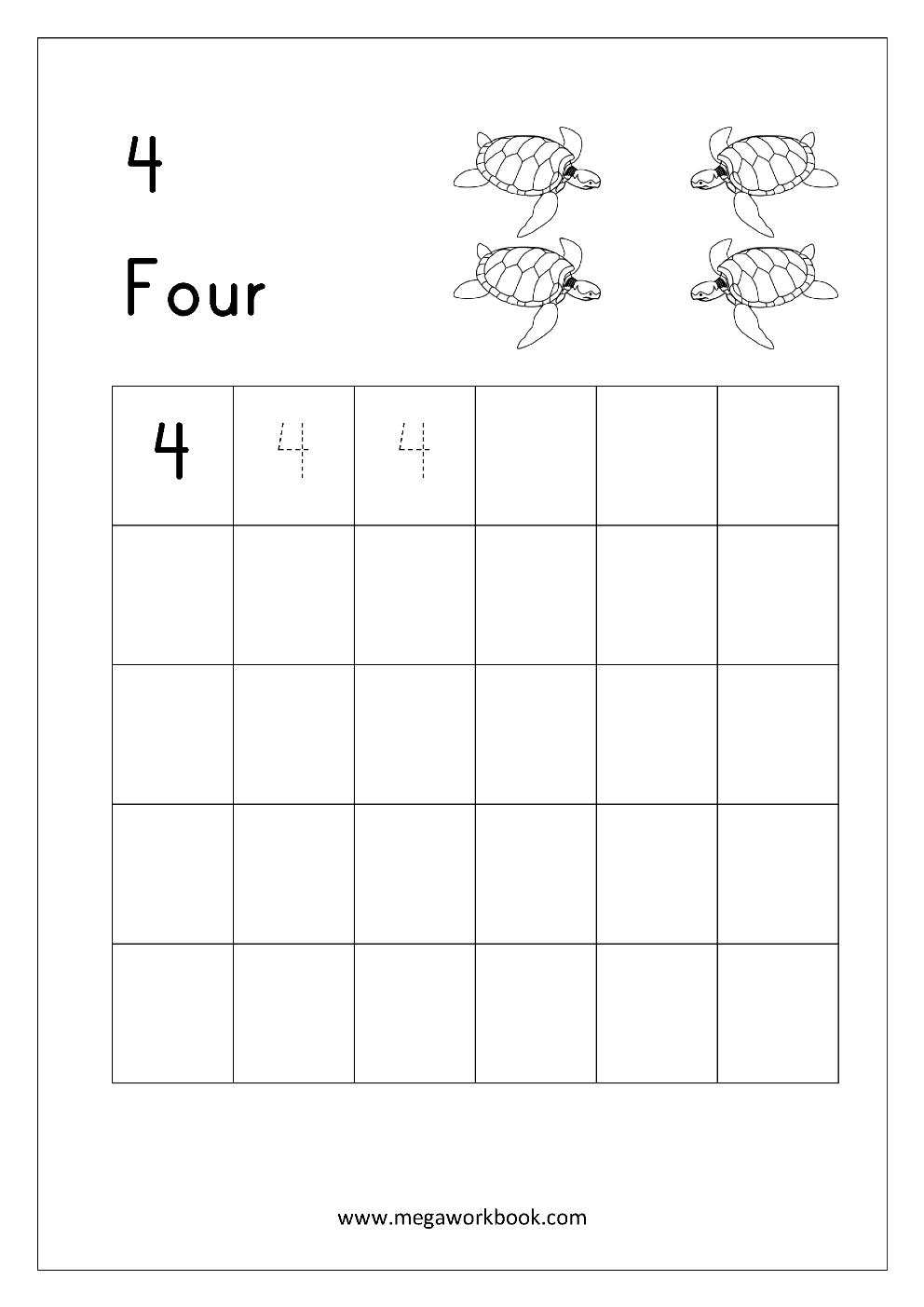 Math Worksheet Write Number Four 4 Menulis [ 1403 x 992 Pixel ]
