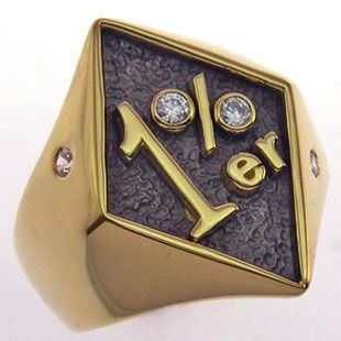 The 1 Percenter Gold Plate Biker Ring hustlin Pinterest Biker