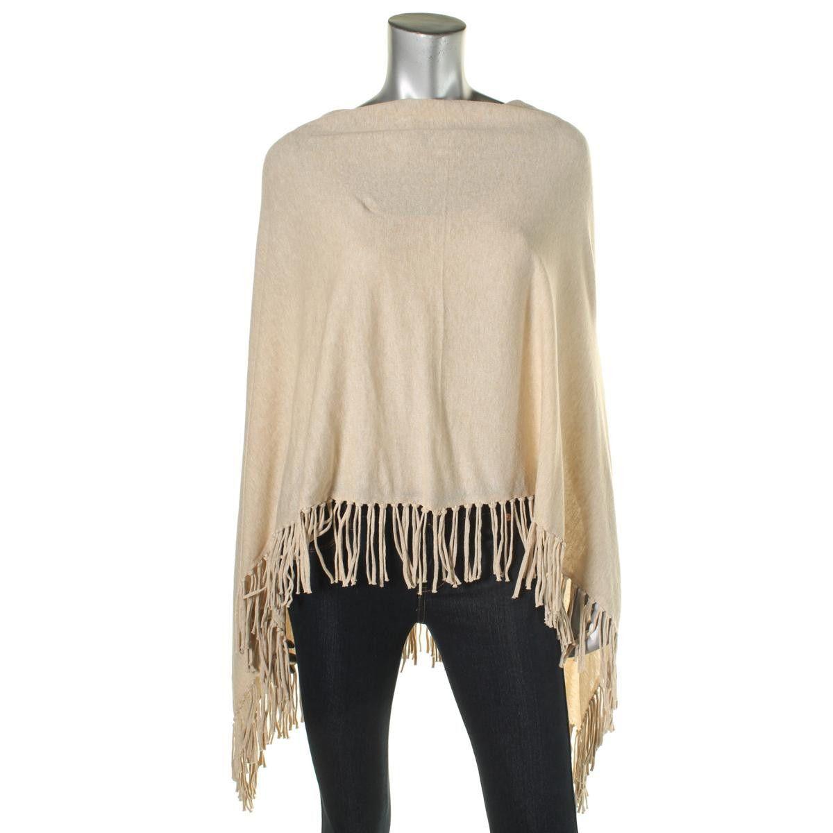 Moon & Meadow Womens Asymmeterical Fringe Poncho Sweater