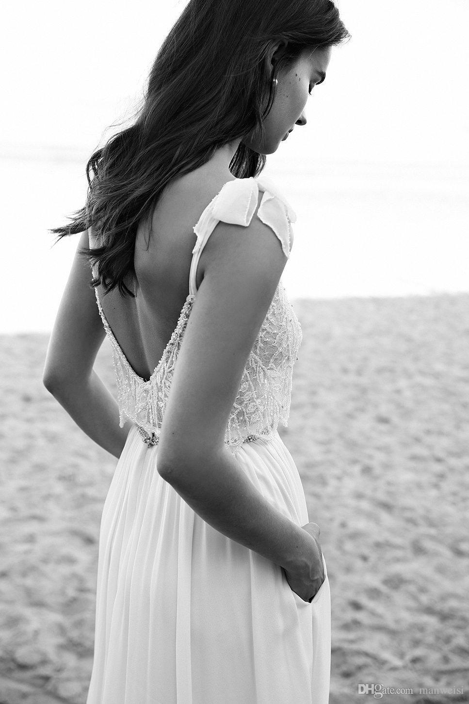 Cheap lace boho wedding dresses spaghetti neck bow lihi hod
