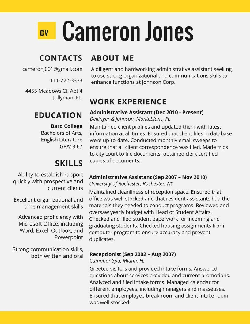 Excellent Resume Resume Template  Resume Examples