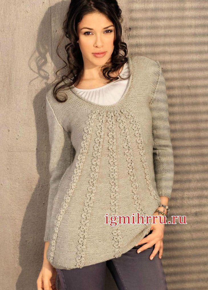 бежевый расклешенный пуловер с полосами из шишечек вязание