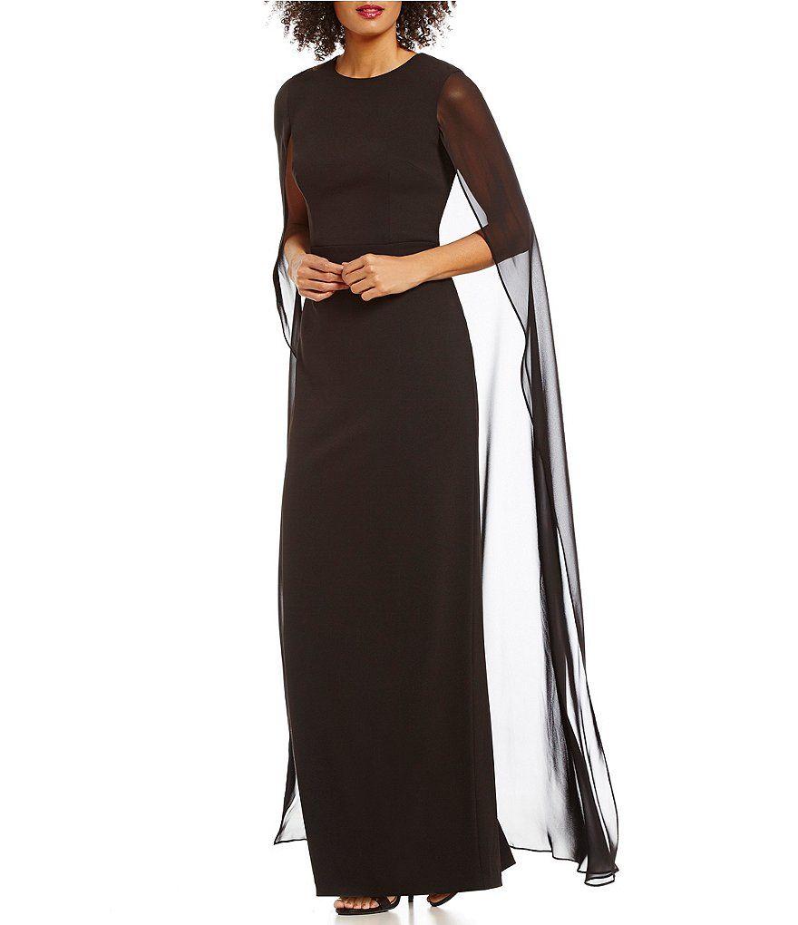 Calvin Klein Long Cape Chiffon Sleeveless Gown | PINS FOR MOM ...