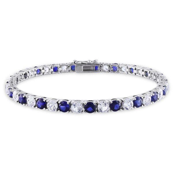Angara Natural Sapphire and Diamond Tennis Bracelet in 14k Yellow Gold Ws0oXuXz