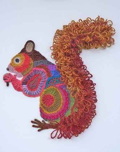 Freeform crocheted Squirrel by Ann*Benoot, inspired by Zentangle Drawing of power animals. Textile art 'painting' 40x50 cm