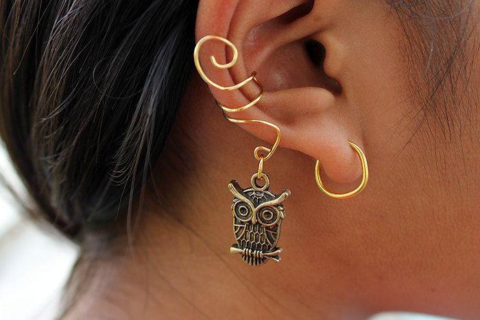 Super Cute Gold Or Silver Owl Ear Cuff 5 00 Via Etsy