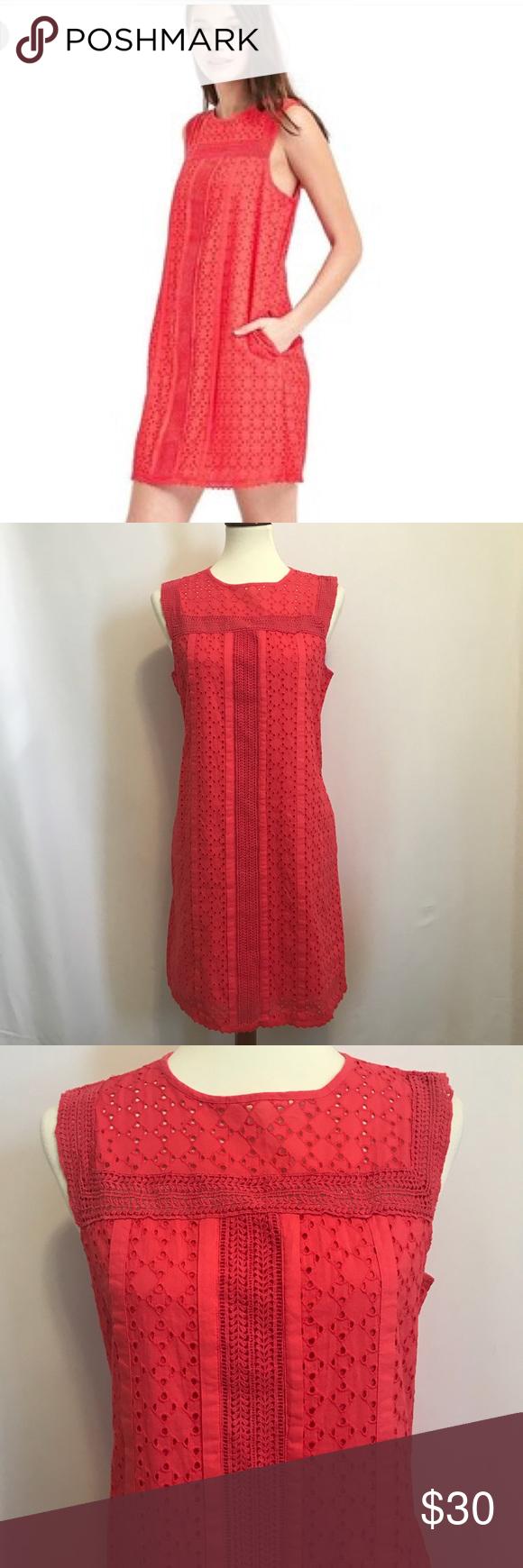 Gap Coral Lace Eyelet Shift Dress Clothes Design Lace Weave Coral Lace [ 1740 x 580 Pixel ]
