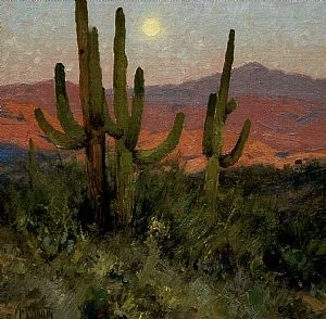 """Sonoran Moon""  by Matt Smith  -  Oil ~ 12 x 12"