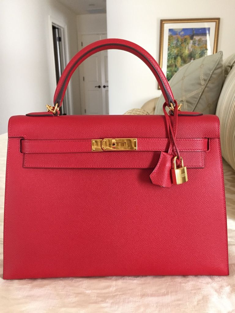13d7d5b833fa Hermes Kelly Sellier 32 Rouge Casaque Epsom Gold Hardware