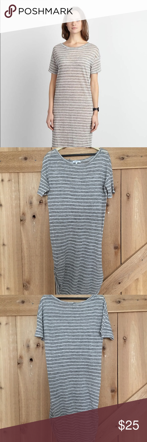 "Emerson fry striped tie-up dress linen granite Light linen/semi-sheer cover up type dress, size small.  Cute tie-ups both bottom sides.  Worn once and laundered.  Very good condition, no noticeable flaws.  31"" length. Emerson Fry Dresses Midi #emersonfry"
