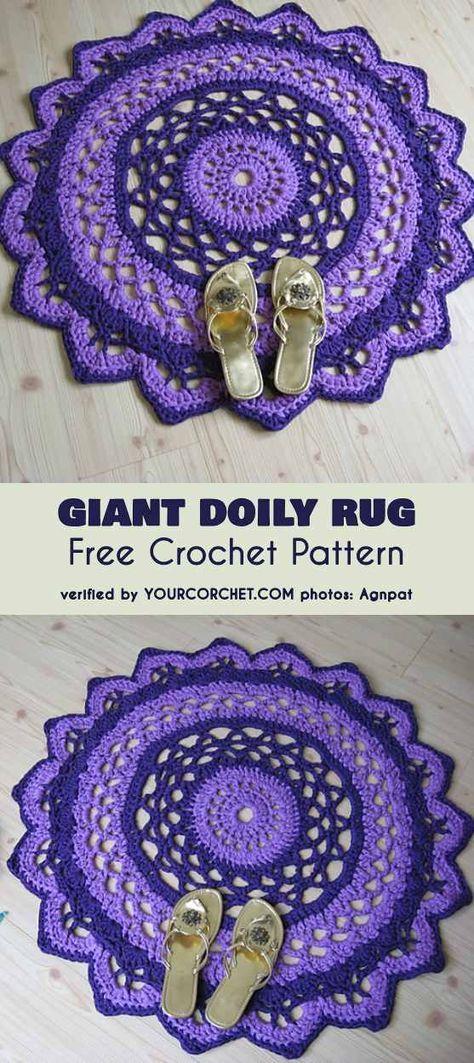 Gigant Doily Rug Free Crochet Pattern   Crochet rug
