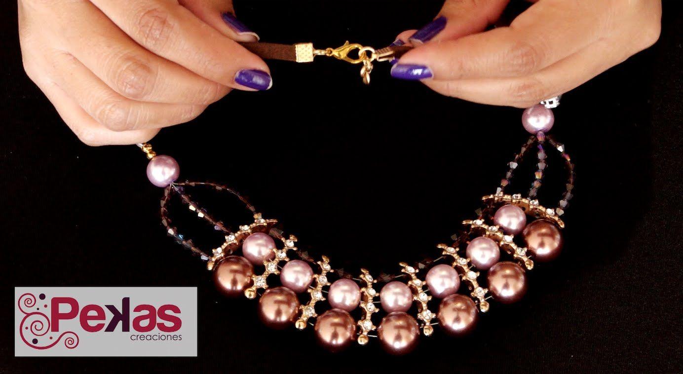 69acc1e223ec Como hacer un Collar Perlas y Strass Princesa  Pekas Creaciones - YouTube