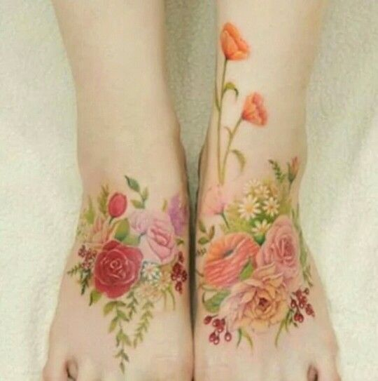 Flower Tattoo Artist Tattooist Flower 타투이스트: Colorful Flower Tattoo, Tattoos, Floral
