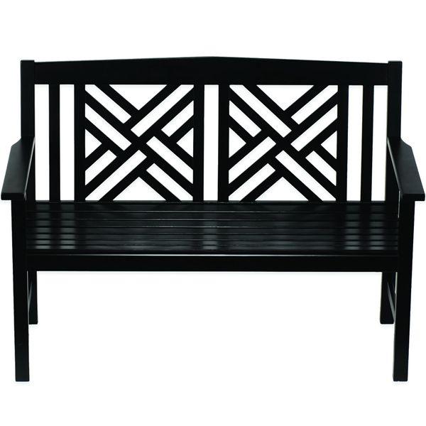 Fretwork Black Bench Wooden Bench Outdoor Wooden Garden 400 x 300