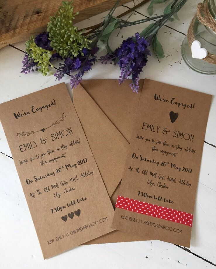 10 Handmade And Personalised Engagement Party Invitations Choice Of ...