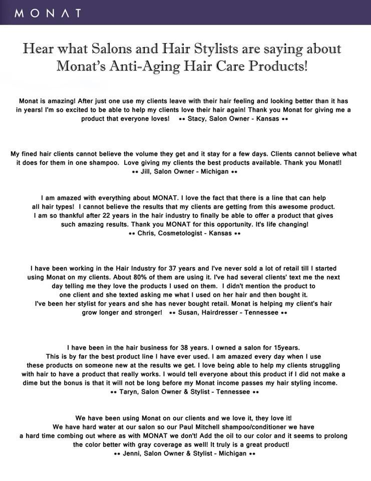 What are salons and hair stylists saying about MONAT? MONAT Hair - hairstylist job description