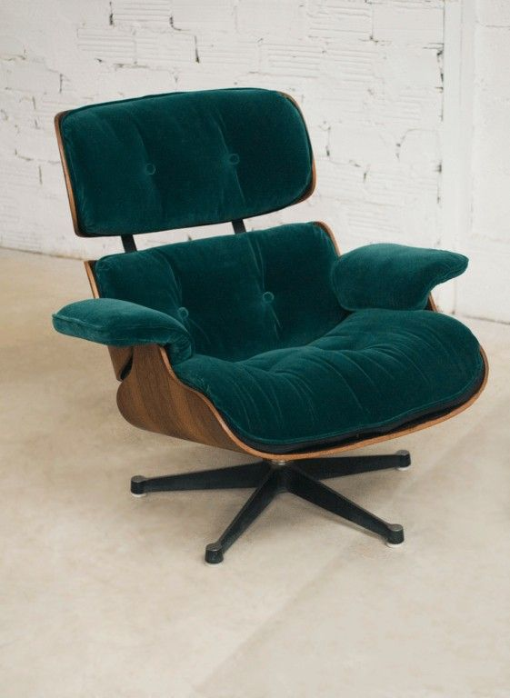 Charles Eames Lounge Chair Fauteuil Charles Eames Velours Vert - Fauteuil design charles eames