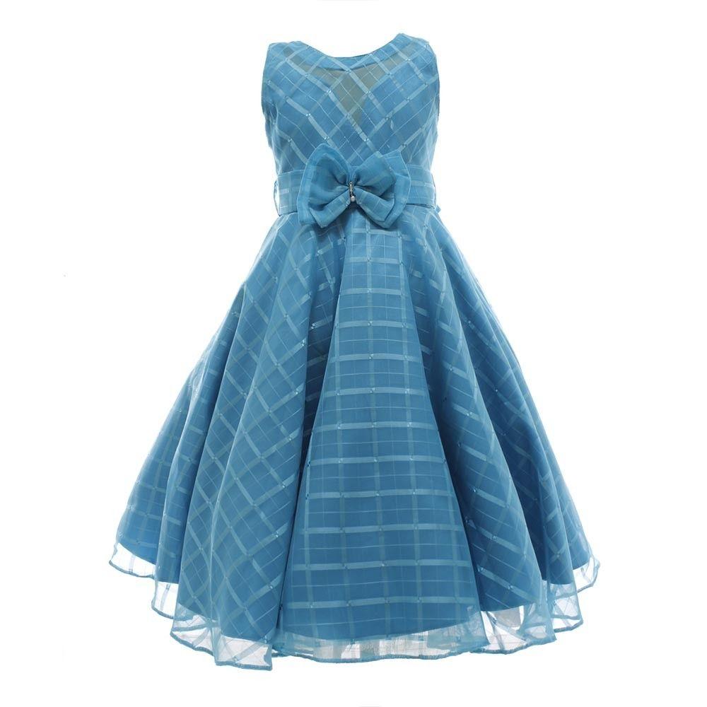 5b8e8e47d6 Vestido de Festa Infantil Organza Azul Turquesa - Princesa (Tamanho ...
