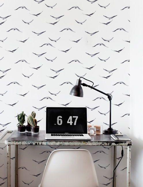 Watercolour Wallpaper, Removable Wallpaper, Self Adhesive Wallpaper, Birds  Wall Décor, Wallpaper Murah, Wallcovering   JW084 | Tapeten /Wallpaper ...
