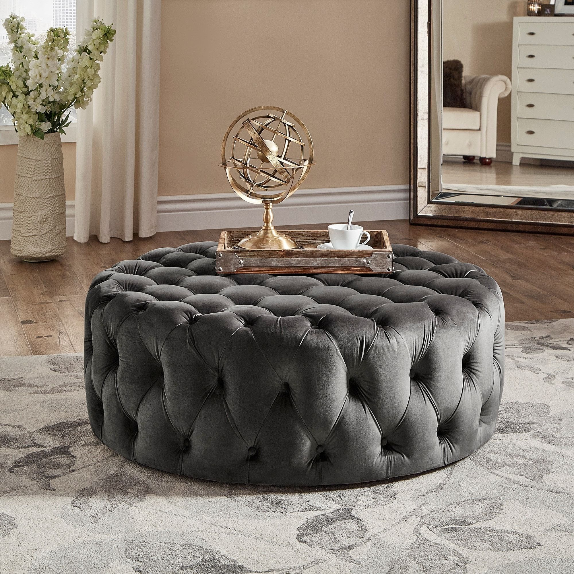 Outstanding Knightsbridge Round Tufted Cocktail Ottoman With Casters By Caraccident5 Cool Chair Designs And Ideas Caraccident5Info