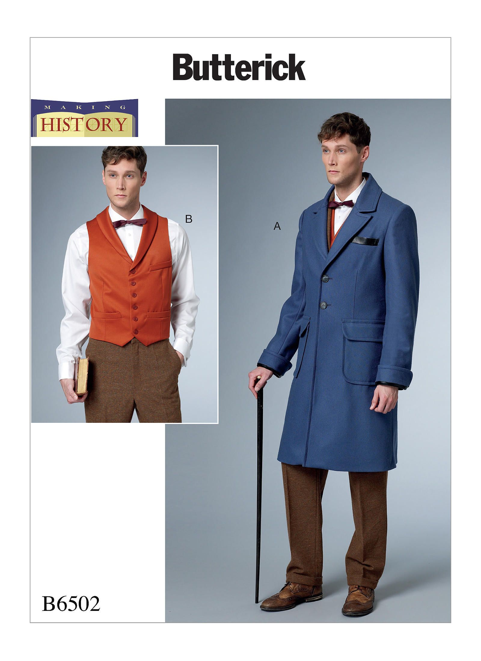 B6502 Butterick 6502 Sewing Pattern Men Lined Coat Vest Fantastic Beasts Costume