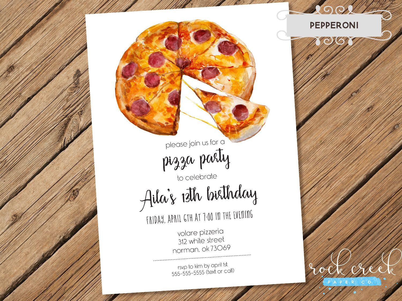 Pizza Party Invitation, Pizzeria Party, Pizza Slice Invitation ...