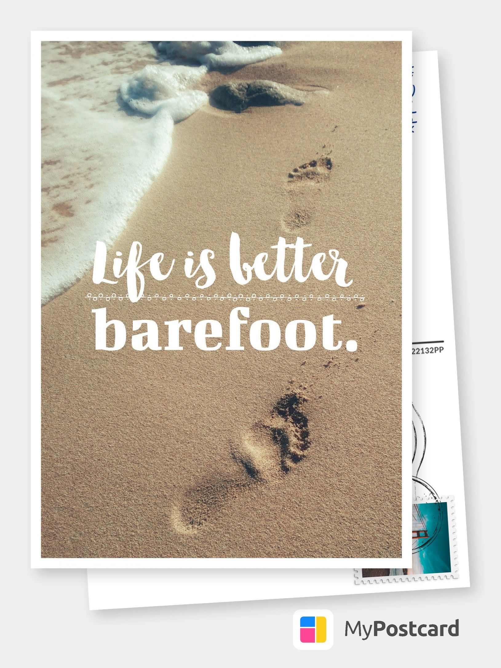 Life is better barefoot wisdom sayings quotes cards