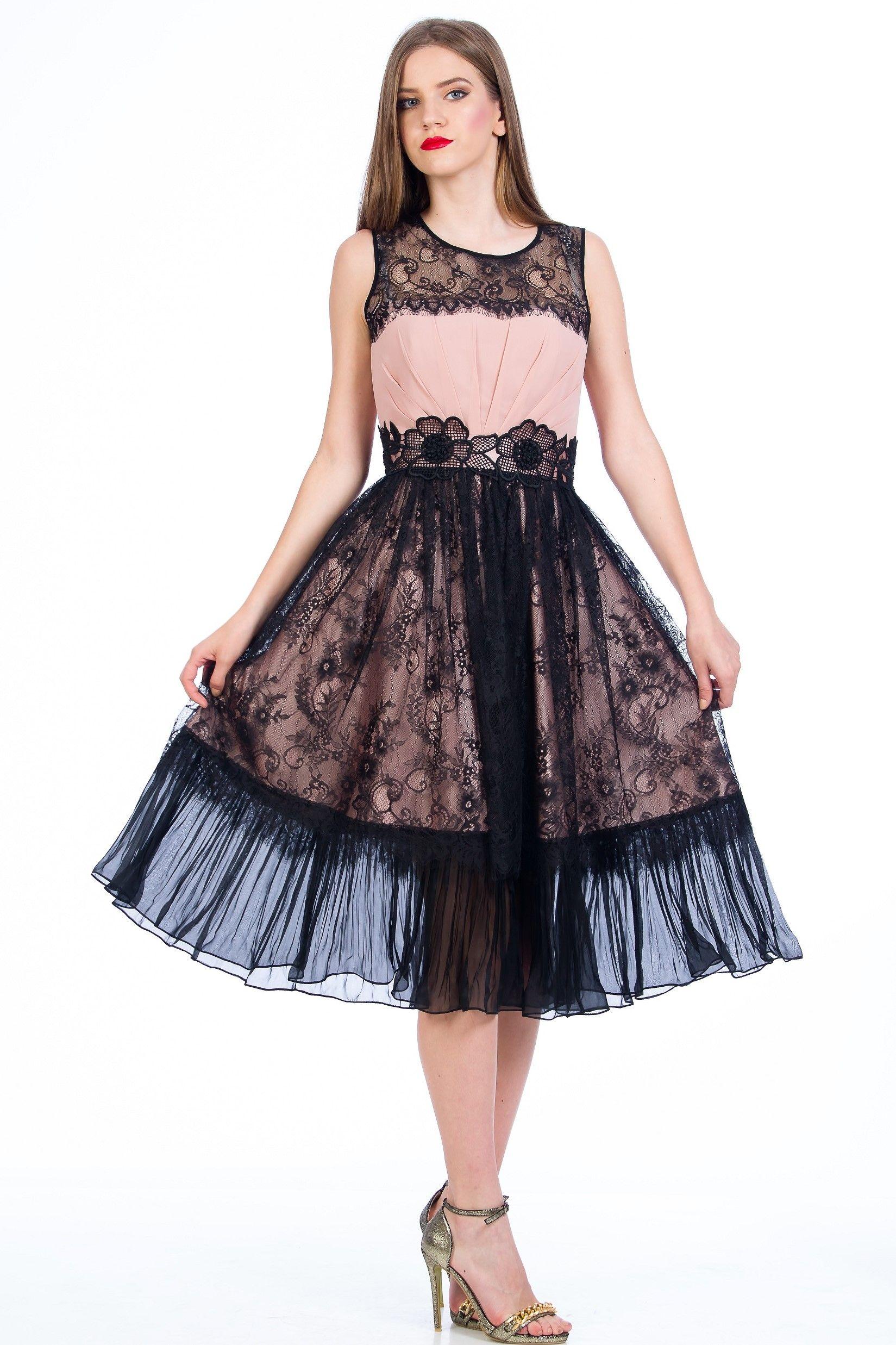 Pinck Black Lace Dress Midi Dress Elegant Dress Prom Dress