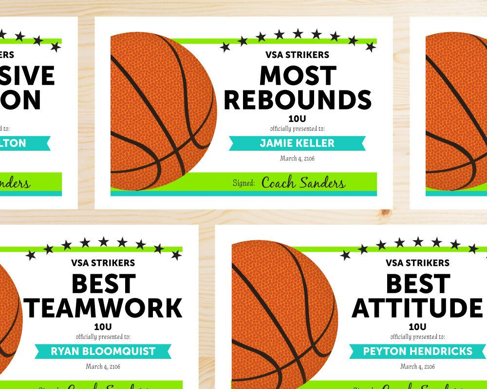 Editable Basketball Award Certificates  Instant Download