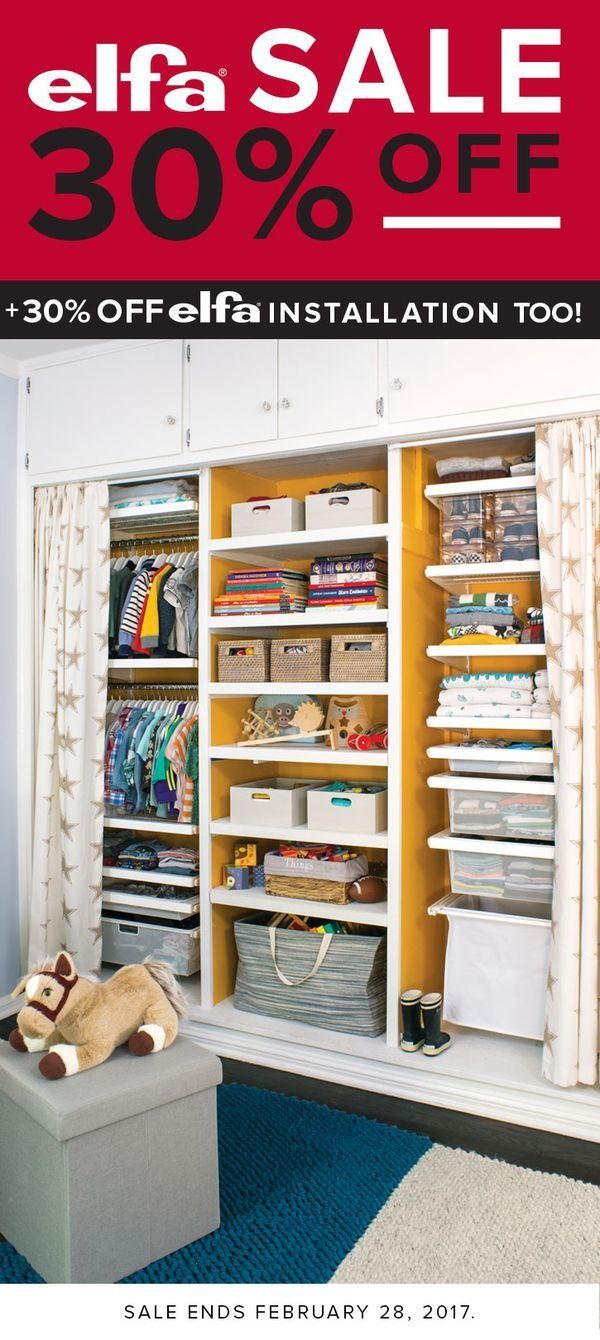 Design a nursery that grows with them. This closet offers plenty of hanging space, solid White decor shelves for little shoes, and space for open bins to store diapers and lotions and their favorite toys. Plus, a bank of drawers for folded clothes. #newbornonesies #foldingclothes