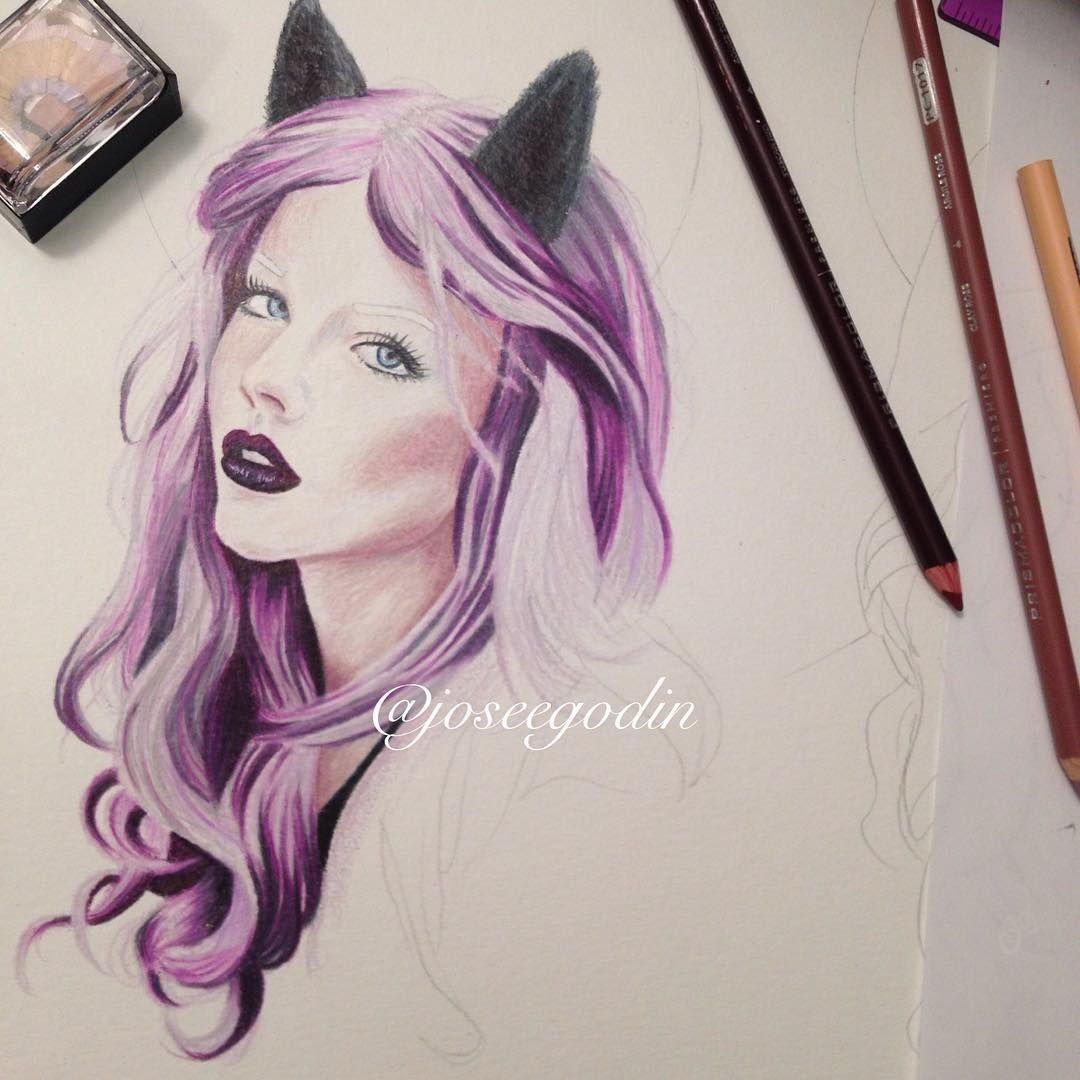 Créations Josée Godin #realisticdrawing #progress #wip #workinprogress #sketch #sketching #art #artist #artgeek #artnerd #illustrator #illustration #doodle #purple #purplehair #pretty #coloredpencil #prismacolor #wolf #draw #drawing