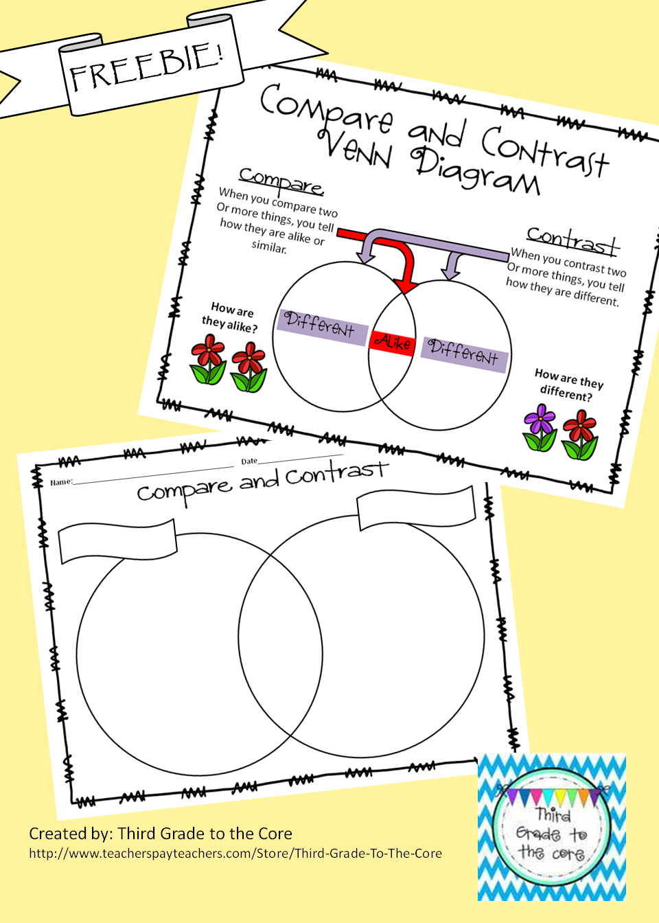 Freebie Compare And Contrast Venn Diagram With Classroom Poster