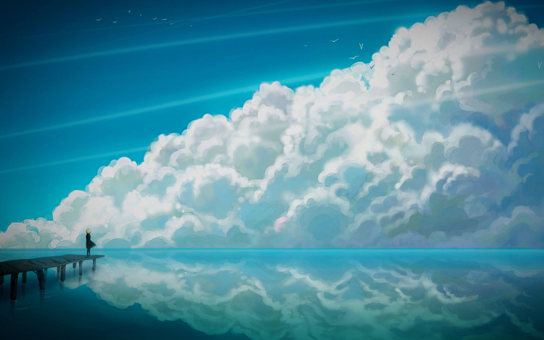 Blue Anime Sky Wide Jpg 2880 1800 Anime Scenery Wallpaper Clouds Scenery Wallpaper