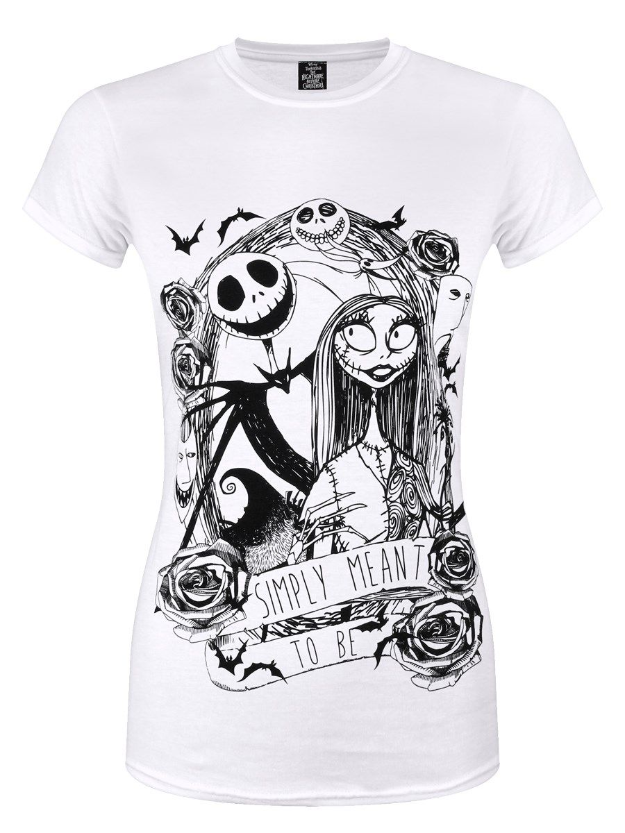 Nightmare Before Christmas Simply Meant To Be Ladies White T-Shirt ...