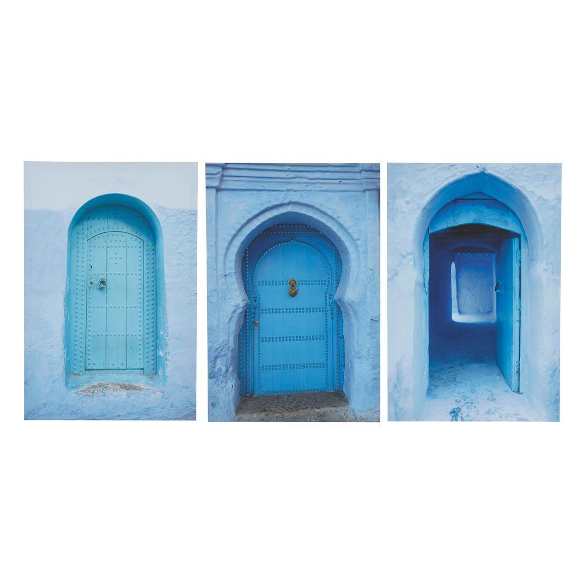 Triptyque bleue 40 x 60 cm MÉDINA   Maisons du Monde   Deco salon ...