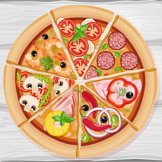 Pizza de todos los sabores - vector