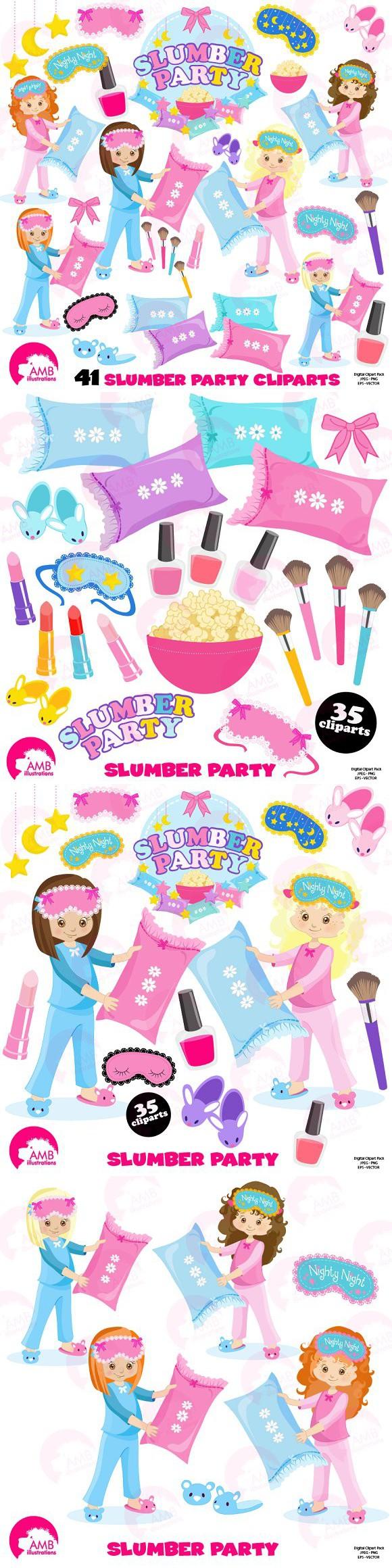 Slumber Party Clipart AMB-1234. Wedding Card Templates